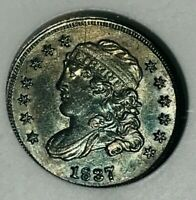 1837 H10C CAPPED BUST HALF DIME SILVER ANACS GRADED AU53 LAR