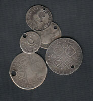 1676 1762  GREAT BRITAIN SILVER COINS   LOT OF 5