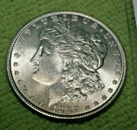 A965,MORGAN SILVER DOLLAR,1887 P VAM 18 DOUBLED STARS & MOTTO, NEAR DATE