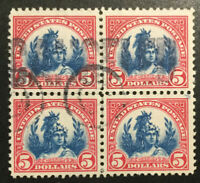 TDSTAMPS: US STAMPS SCOTT573 $5 USED BLOCK OF 4