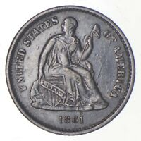 5C   1/2 DIME HALF   1861 SEATED LIBERTY HALF DIME EARLY AME