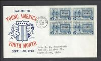 US FIRST DAY COVER FDC   963   3C SALUTE TO YOUTH   1948   P