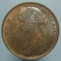 GLOSSY BROWN UNCIRCULATED 1891 VICTORIA PENNY WITH SOME MINT RED