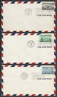 LOT OF  3  US FIRST DAY COVERS FDC   AIR MAIL C34 C35 C36
