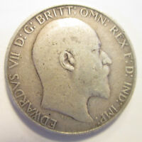 GB EDWARD VII 1908 FLORIN STERLING SILVER 0.925 GOOD CONDITI