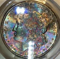1882-S MORGAN DOLLAR PCGS MINT STATE 65 VIBRANT RAINBOW TONED ABSOLUTE EYE CANDY