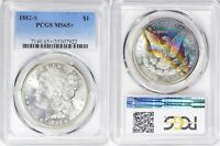 1882-S MORGAN SILVER DOLLAR PCGS MINT STATE 65 TONED COLORFUL RAINBOW TONING VIDEO