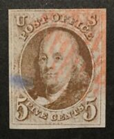 TDSTAMPS: US STAMPS SCOTT1 5C FRANKLIN USED