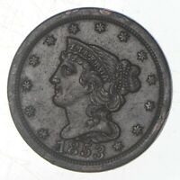 1853 BRAIDED HAIR HALF CENT   JEFFERSON COIN COLLECTION  726