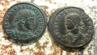 LOT OF TWO VF  TO EF CONSTANTINE II ANCIENT ROMAN COINS  LAR