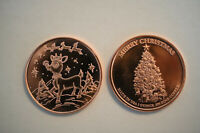 RUDOLPH THE RED NOSED REINDEER CHRISTMAS 1 OZ. .999 PURE COPPER BULLION ROUND