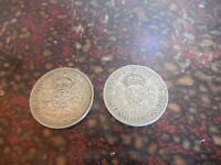 TWO  2  1940 & 1948 TWO SHILLINGS  COINS GEORGIVS V1  D : G