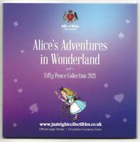 ALICE'S ADVENTURES IN WONDERLAND 50P COIN SET ISLE OF MAN BAND NEW