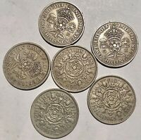 LOT OF 6  TWO SHILLINGS 2 1948 1951 1956 1958 1967. GREAT CO