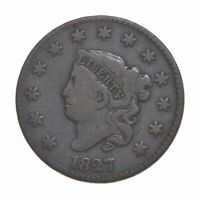 BETTER 1827 MATRON HEAD   US LARGE CENT PENNY COIN COLLECTIO