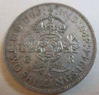 1944 GREAT BRITAIN SILVER TWO SHILLINGS COIN. BETTER GRADE