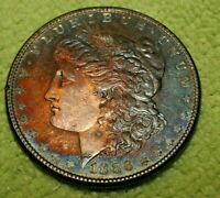 A1094,BEAUTIFUL RAINBOW TONED MORGAN SILVER DOLLAR,1896 DMPL VAM 13 GREAT COIN
