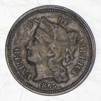 1865 NICKEL THREE CENT PIECE   CHARLES COIN COLLECTION  090