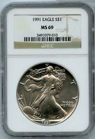 1991 AMERICAN SILVER EAGLE 1 OZ NGC MINT STATE 69 CERTIFIED COIN BULLION UNC - JJ321