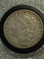 1884-S MORGAN VAM 12 FAR DATE / S TILTED RIGHT SEMI KEY DATE SILVER VARIETY COIN