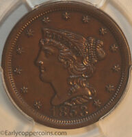 1853 C1 R1 BRAIDED HAIR HALF CENT PCGS MINT STATE 62BN FURNACE RUN COLLECTION REGISTRY SE
