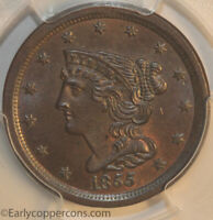 1855 C1 R1 BRAIDED HAIR HALF CENT PCGS MINT STATE 65BN FURNACE RUN COLLECTION REGISTRY SE