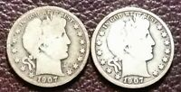 LOT OF TWO  2  1907 D AND 1907 O CIRCULATED BARBER HALF DOLL