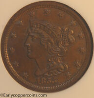 1855 C1 R1 BRAIDED HAIR HALF CENT NGC MINT STATE 65BN CAC FURNACE RUN COLLECTION