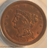 1857 C1 R2 BRAIDED HAIR HALF CENT PCGS MINT STATE 64RB FURNACE RUN COLLECTION