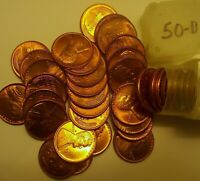 1 BU ROLL 1950-D LINCOLN CENTS 50 IN PLASTIC TUBE.