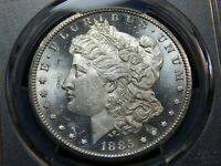 1885-CC $1 MORGAN DOLLAR MINT STATE 63PL PCGS, BLAST WHITE LOOKS HIGHER