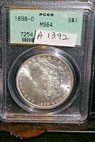 A1392,MORGAN SILVER DOLLAR,PCGS 1898 O MINT STATE 64 OLD GREEN HOLDER