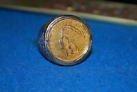 14K $3 GOLD COIN AND DIAMOND RING