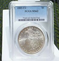 1885-CC MORGAN DOLLAR PCGS MINT STATE 62 CARSON CITY