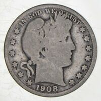 BETTER 1908 S   US BARBER 90  SILVER HALF DOLLAR COIN COLLEC