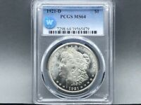 1921-D PCGS MINT STATE 64 MORGAN SILVER DOLLAR SIGHT WHITE CERTIFIED BLAST WHITE