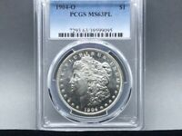 1904-O PCGS MINT STATE 63 PL PROOF LIKE MORGAN SILVER DOLLAR PREMIUM COIN AND STRIKE