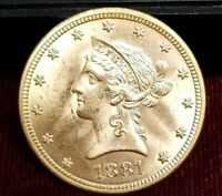 1881 $10 GOLD LIBERTY HEAD UNCIRCULATED DETAILS SCRATCHED