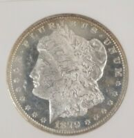 1879-S MORGAN SILVER DOLLAR $1 ANACS MINT STATE 62 CAMEO DMPL OLD HOLDER