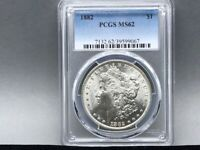 1882-P PCGS MINT STATE 62 MORGAN SILVER DOLLARORIGINAL COIN AND STRIKE  EYE APPEAL