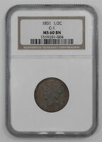 1851 BRAIDED HAIR HALF CENT 1/2C NGC CERTIFIED MINT STATE 60 BN MINT UNC BROWN 004