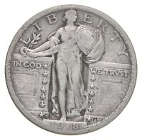 BETTER 1918 S   US STANDING LIBERTY 90  SILVER QUARTER COIN