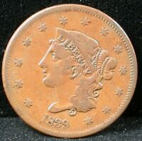 1839 BOOBY HEAD 1C CORONET HEAD LARGE CENT 1839 ONE CENT