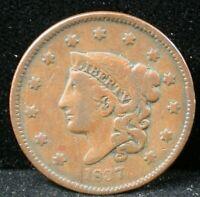 1837 1C CORONET HEAD LARGE CENT 1837 ONE CENT