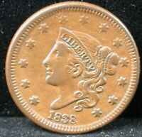 1838 1C CORONET HEAD LARGE CENT 1838 ONE CENT