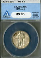 US COIN 1928 S STANDING LIBERTY QUARTER ANACS MS65