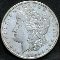 1890 CC MORGAN SILVER DOLLAR EXTRA FINE /AU DETAILS BETTER DATE CARSON CITY COIN