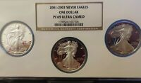 2001 2002 2003-W NGC PF69 UCAM 3 COIN PROOF SET AMERICAN SILVER EAGLE DOLLAR
