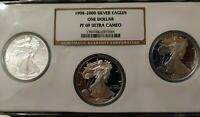 1998 1999 2000-P NGC PF69 UCAM 3 COIN PROOF SET AMERICAN SILVER EAGLE DOLLAR