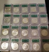 1986-2005 20 YEAR SILVER EAGLE SET 20 ICG MINT STATE 69 GREEN LABEL